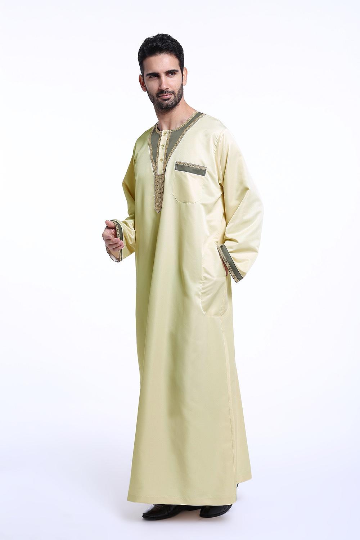 Arab Pakaian Abaya Muslim Islam Thobe untuk Pria Timur Tengah Pria Gamis Bordir TH802-Intl