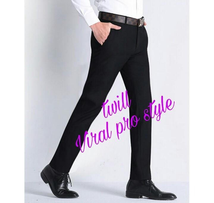 Viral Guido - Celana Panjang Pria Formal Kantor - Kerja - Slim Fit - Bahan Kain Drill / Twill - Hitam