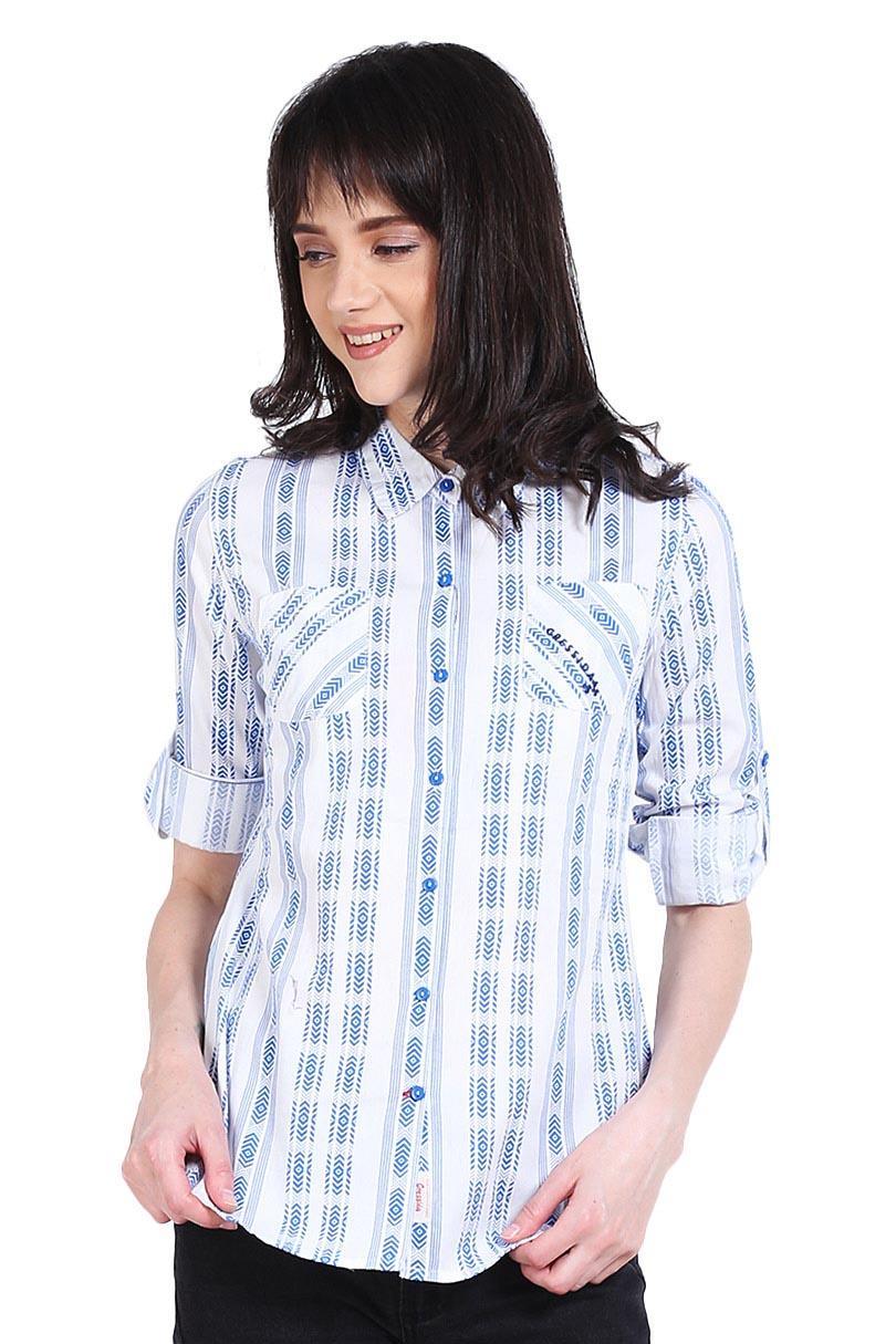Cressida Pakaian Blouse dan Kemeja Wanita Ladies Printing Basic Shirt Scouring
