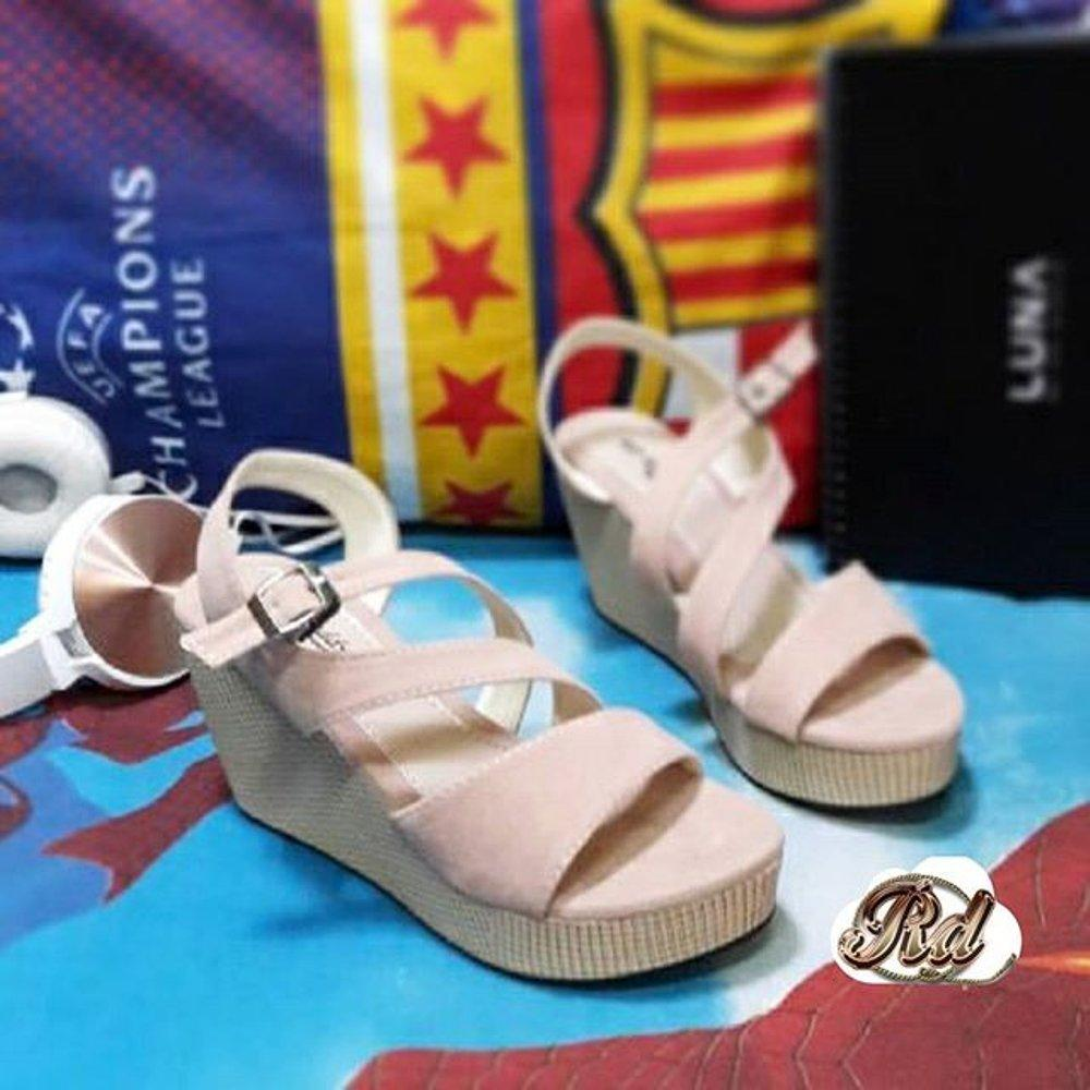 Sepatu murah Wedges RD Sueede Peach Lazada Flash Sale