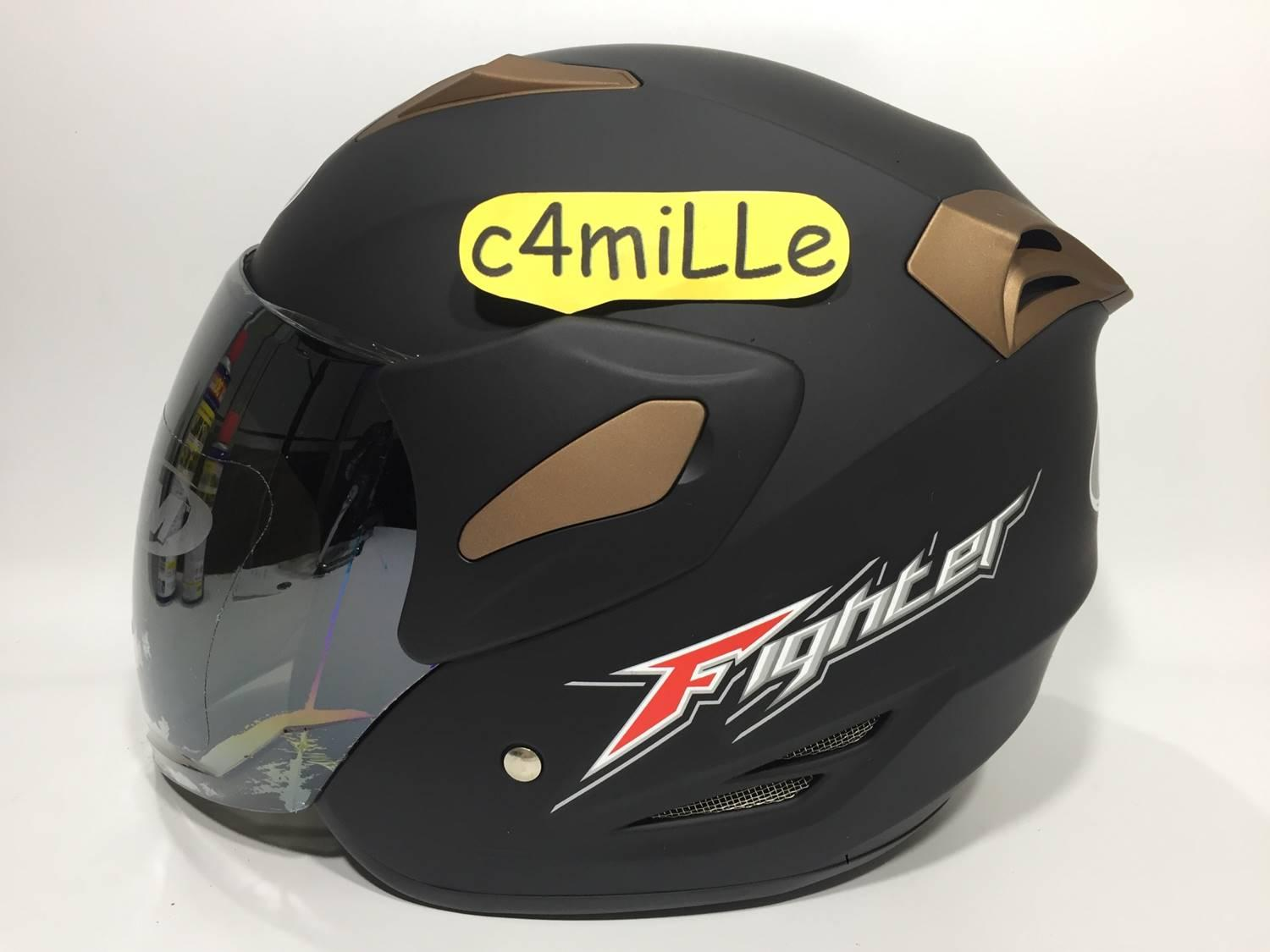 24088432 HELM GM FIGHTER SOLID BLACK DOP HALF FACE