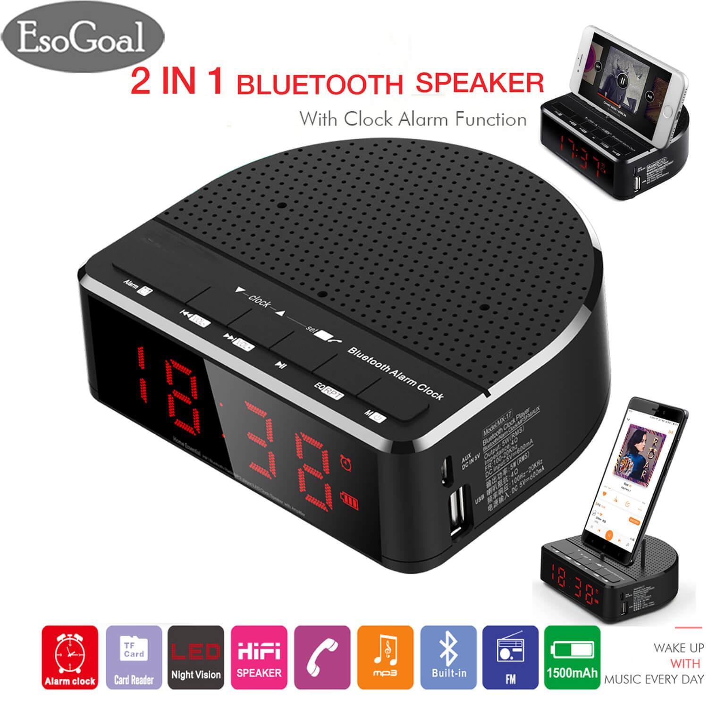 EsoGoal Digital Alarm Clock Radio with Bluetooth Speaker,Red Digit Display with Phone Holder,2 Dimmer,FM radio, AUX-in,USB Port Bedside led Alarm Clock