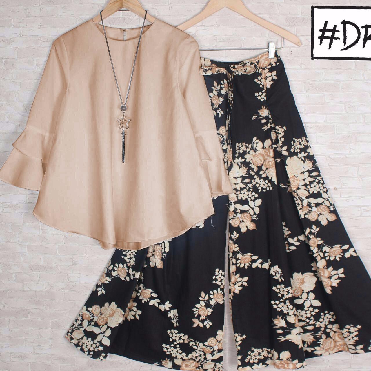 RULIVA - stelan kulot katun jepang BATIK ARETA celana kulot dan blouse ATASAN setelan kulot wanita kekinian motif bunga batik set kulot celana kulot hijab