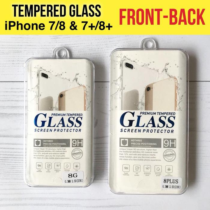 Tempered Glass Depan dan Belakang iPhone 7 7+ 8 8+ Plus X / Anti Gores