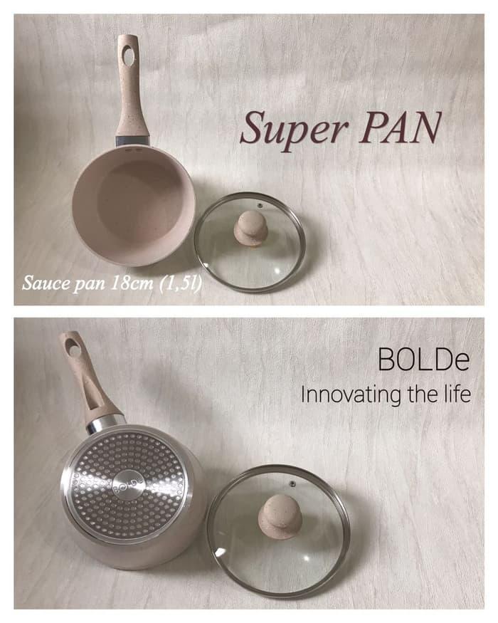 Sauce Pan BOLDe 18cm plus penutup kaca ( Panci Keramik premium) PROMO TERLARIS