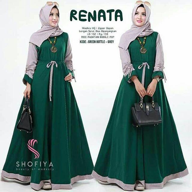 Renata Dress Baju Gamis Casual by Nasywa Collections