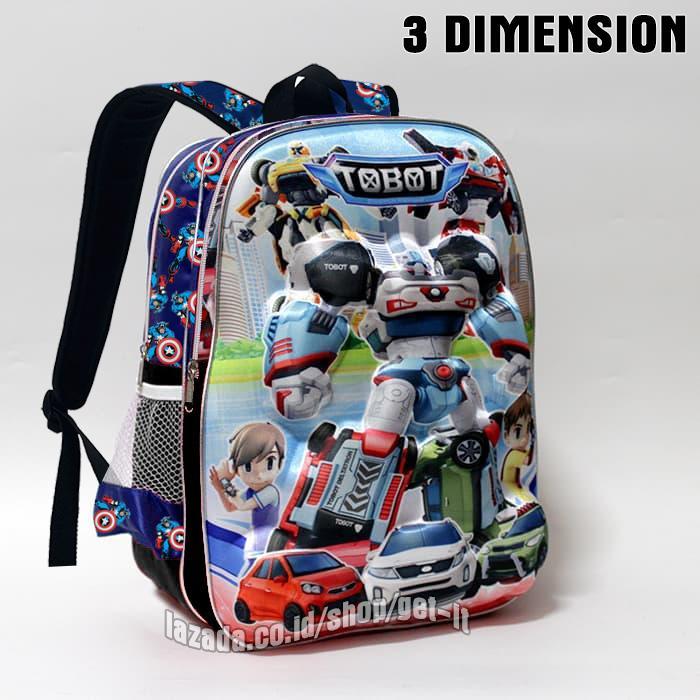 Tas anak tobot 3D Tas sekolah anak laki-laki Tobot SD