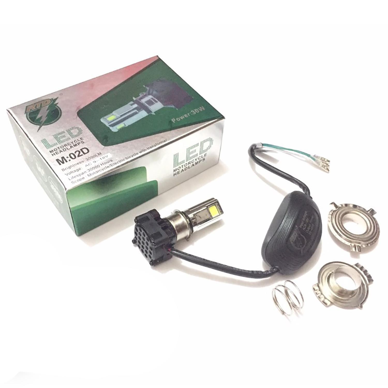 RTD Lampu Depan LED 3 sisi AC DC Model M3A Low 10Watt High 30Watt - 3 Mata Merk RTD + Kipas - Putih