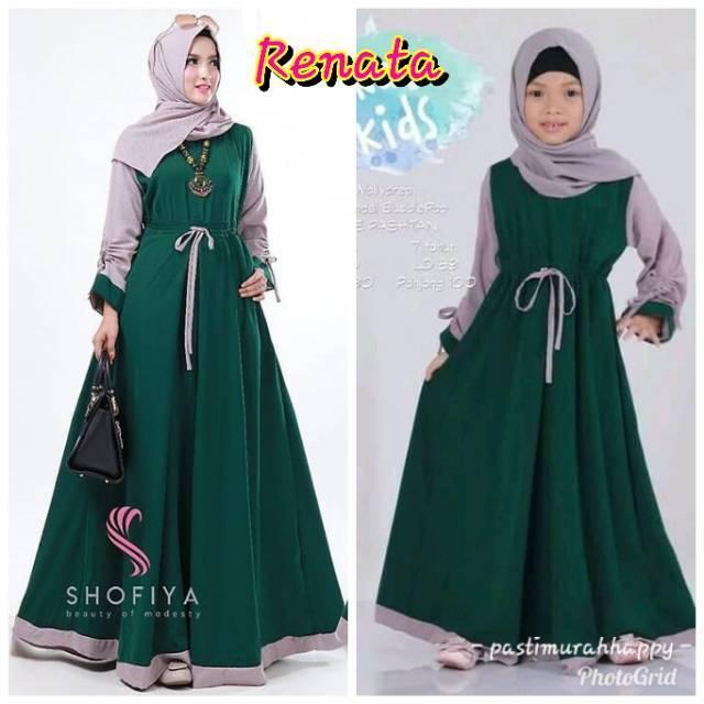 Dress Renata Muslim / Baju Gamis Syari Serut (Ibu dan Anak Hijau)