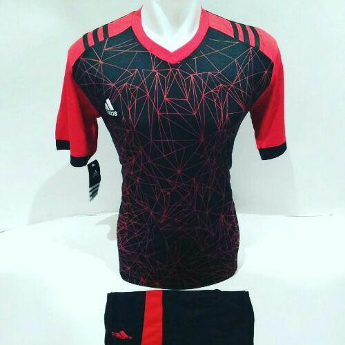 [BEST SELLER AD 02] Baju Futsal Jersey Olahraga Volly Kaos Bola Setelan Voli Adidas Hitam Merah