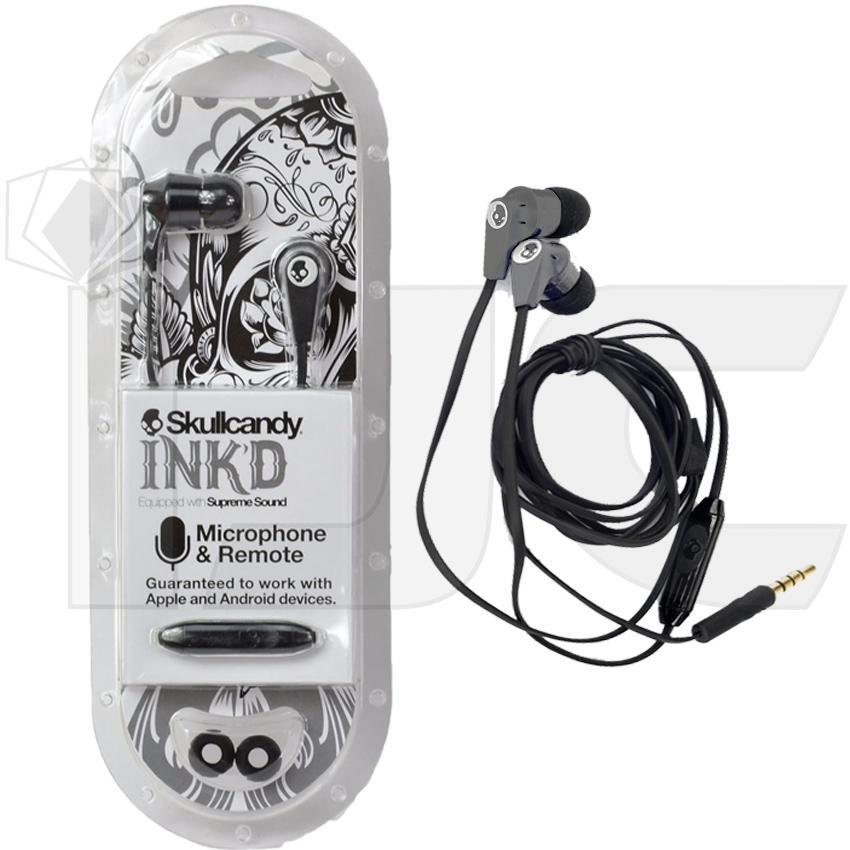 Skullcandy Handsfree Earphone INK'D Supreme Sound Original with mic & Remote - Black