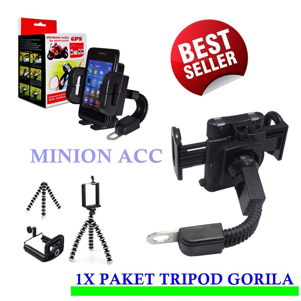 Phone Holder Motor Universal Untuk HP & GPS Pasang Di Spion + Tripod Mini Gorila paket
