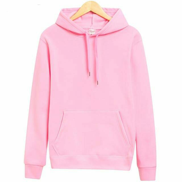 Jaket polos hoodie jumper soft pink - cotton fleece