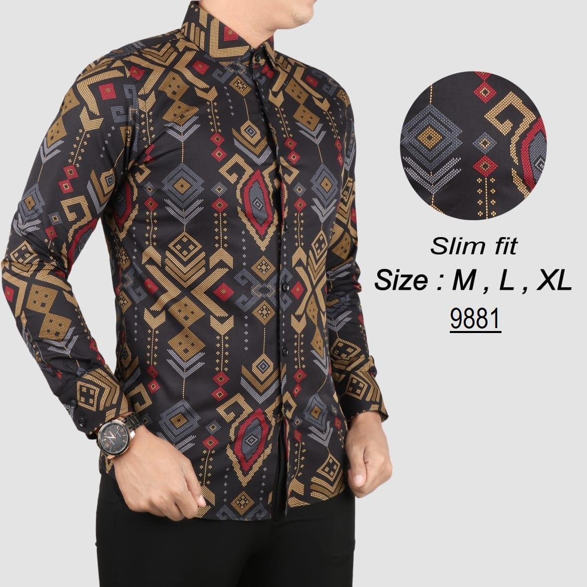 Batik Pria Modern Kemeja Batik Pria Slim fit WW01J