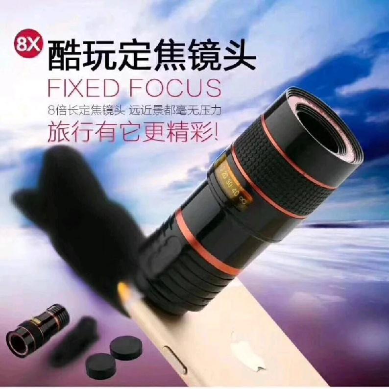 Lensa Telephoto/Telescope Zoom 8x -Jepitan Lensa -Cover Lensa -Kain Lap Lensa/Lens Cleaner -Box