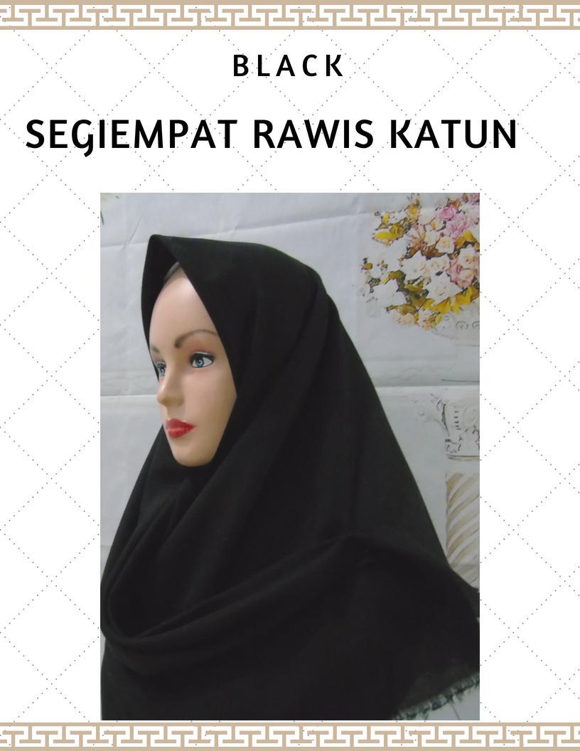 Segiempat Rawis Katun / Jilbab Segiempat Rawis Katun / Hijab rawis saudia saudi kerudung segiempat - tukiyem13