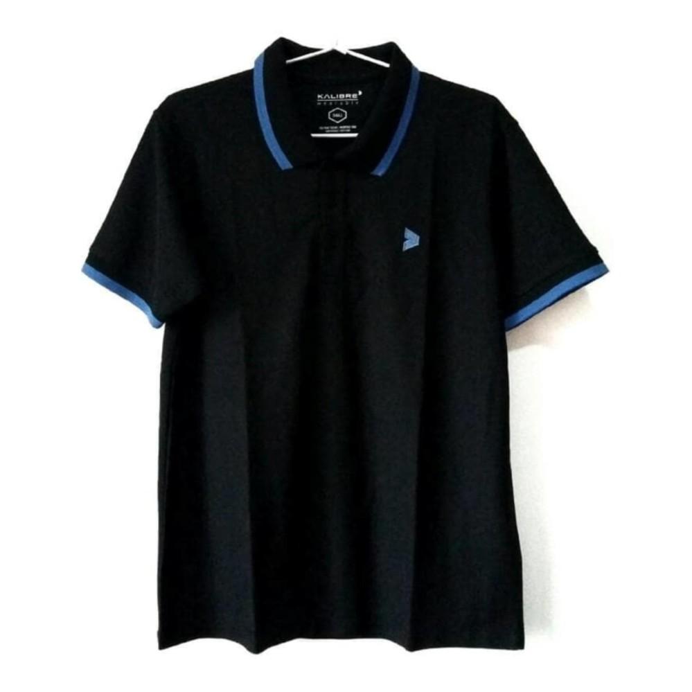 Kalibre Men Polo Shirt Pria Pique Microfiber Yarn Warna Kombinasi Hitam Strip Biru Cerah