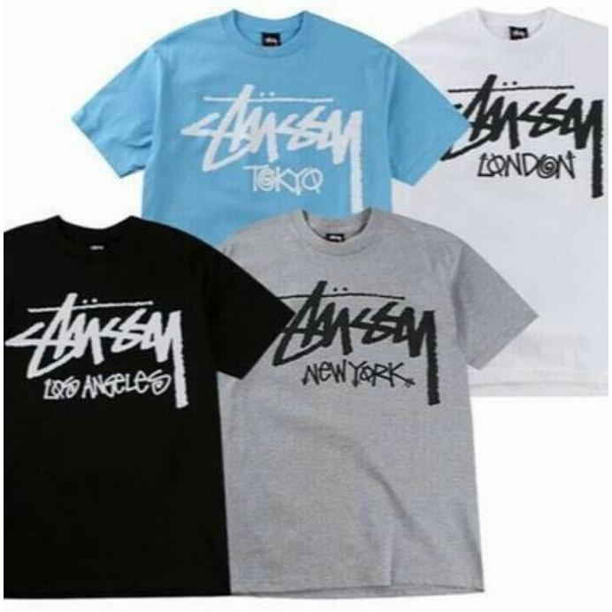 Kaos Tshirt Baju Combed 30S Distro Stussy Los Angeles New York Tokyo - Comjersey