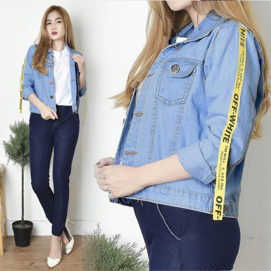 Kyoko Fashion Jaket Jeans Siera Off White / Jaket Denim Wanita / Jaket Jeans List Kuning