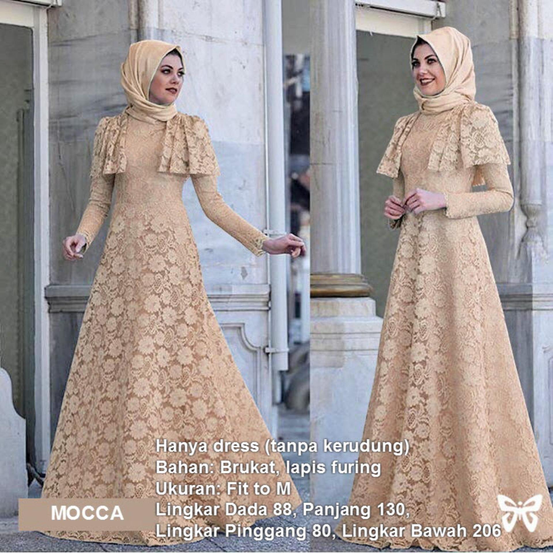 Maxi Dress Lengan Panjang Brukat MSR031   Gamis Syari   Gaun Pesta Muslimah    Baju Muslim 33a229bc3a