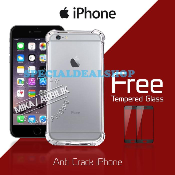 Acrylic Anticrack Mika Case Free Tempered Glass for Iphone 4 - Belakang Acrilic Keras - Pinggir Silicone Soft - Clear