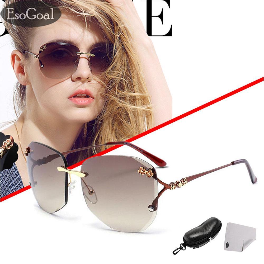 EsoGoal kucing mata Sunglasses Mirrored Flat lensa bingkai logam Women  Eyewear dengan case 71148ae86b