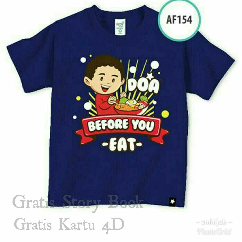 Afrakids kaos baju anak muslim branded do'a before you eat AF154 - navy