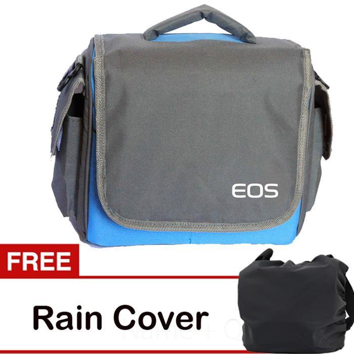 Tas Kamera Canon Mirrorless Biru Kotak Free Jas Hujan (Rain Cover) Kode UT Berkualitas