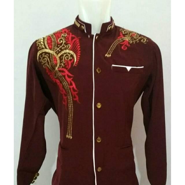 JASKO Modern Merah Marun Lis Putih - baju koko pria (L)