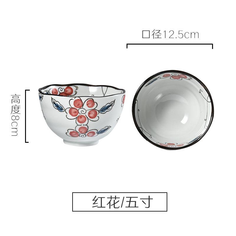 Mangkuk Keramik Gaya Jepang Yang Dilukis dengan Tangan Mangkuk Rumah Tangga Nasi Putih