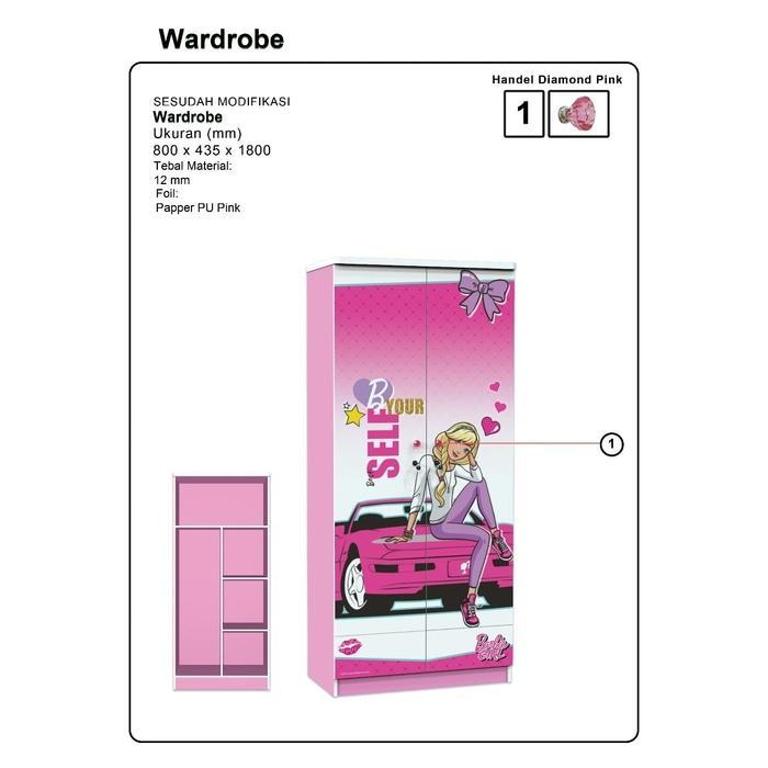 Lemari Pakaian 2 Pintu Karakter Barbie WD BB 12180 BG