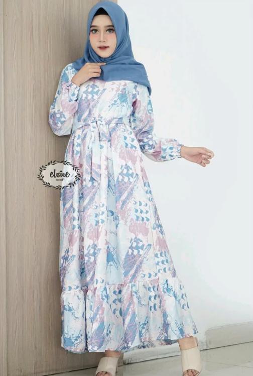 Gamis Dress Maxmara Motif Abstrak Rasita Dress Ori By Elsire