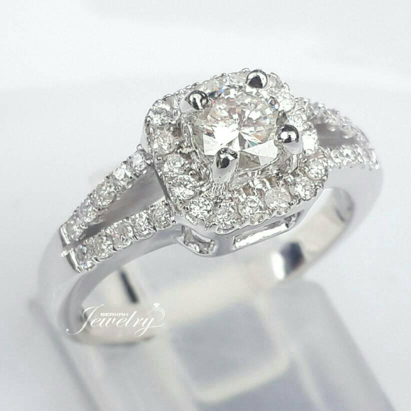 Cincin Berlian Natural Diamond Wedding Ring Emas Fashion Nikah Kawin