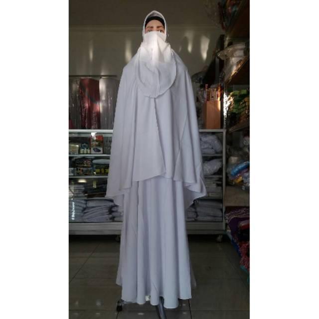 baju ihrom wanita - perlengkapan haji umroh - gamis set cadar - gamis putih -gamis umroh-gamis hitam (M hitam)