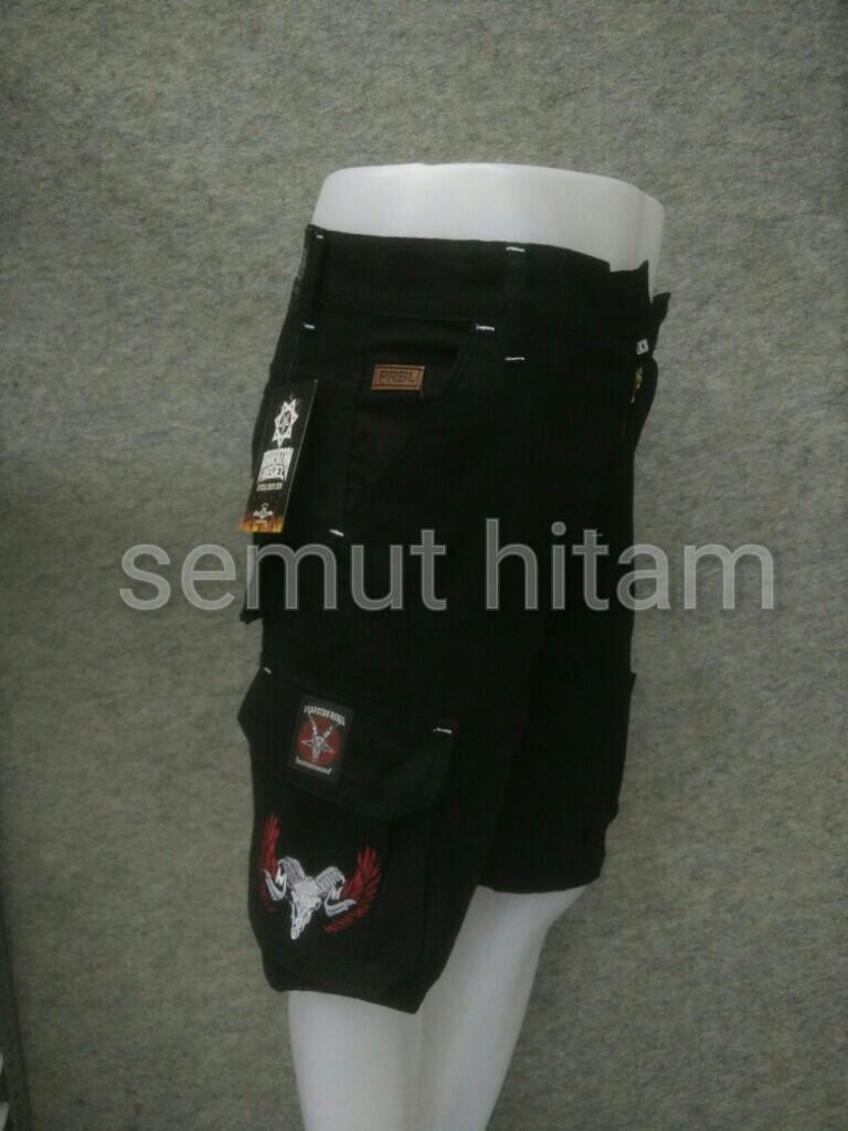 Celana Pendek Cargo Pria / Celana Pendek Kempol Hitam Prapatan Rebel