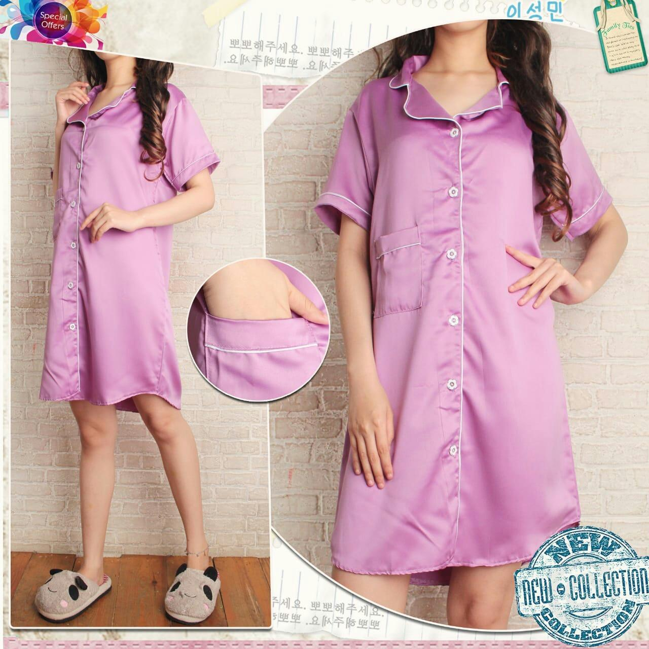 Kekinian_Shop Pajamas Satin Daster/Baju Tidur/Pajamas Kekinian/Fashion Wanita/Fashion Pria