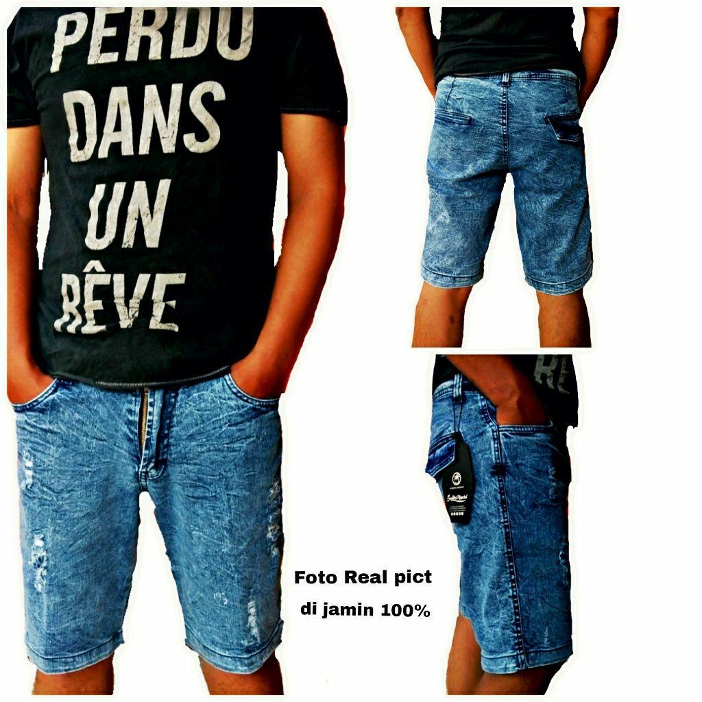 Celana pendek jeans sobek sobek sand wash made in bandung