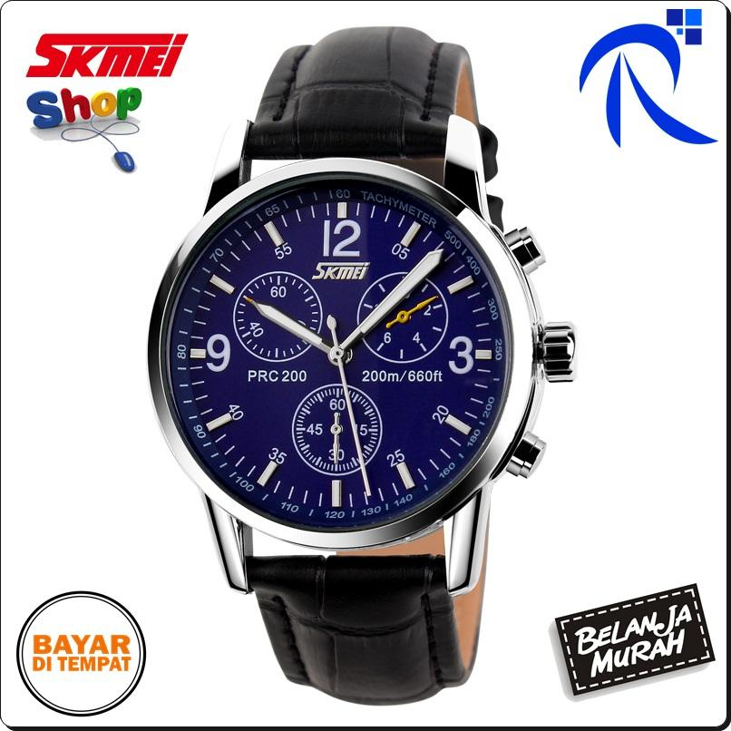 Skmei Casual Men Leather Strap Watch Water Resistant 30m - 9070cl - Black Hitam / White Putih / Blue Biru - Jam Tangan Pria Cowo Cowok Lelaki Laki-Laki Waterproof Anti Air 30 M Meter Original FREE ONGKIR & Bisa COD