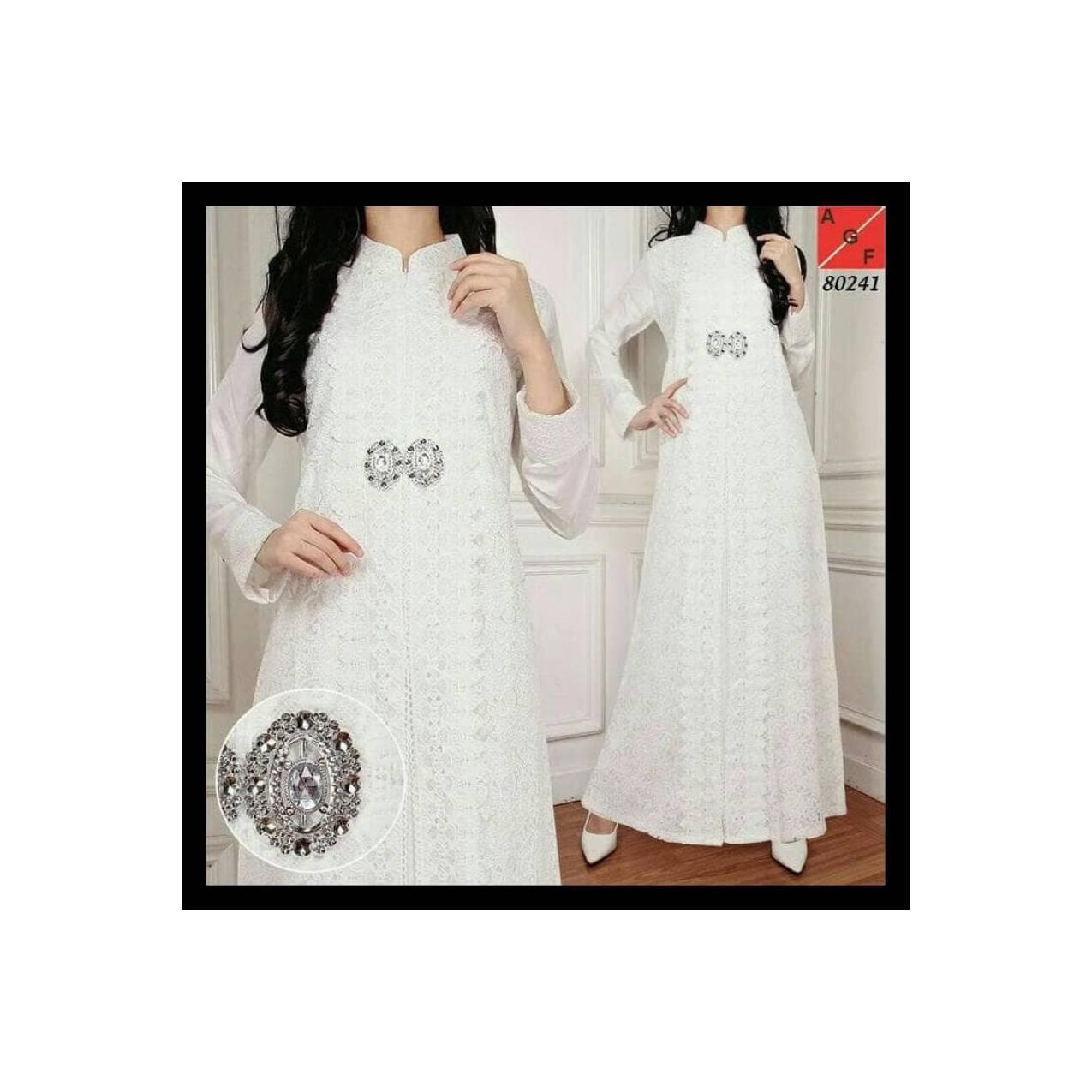 Reseller . . . Baju Pesta Muslim Gamis Putih Mewah Elegan - Brokat Dan