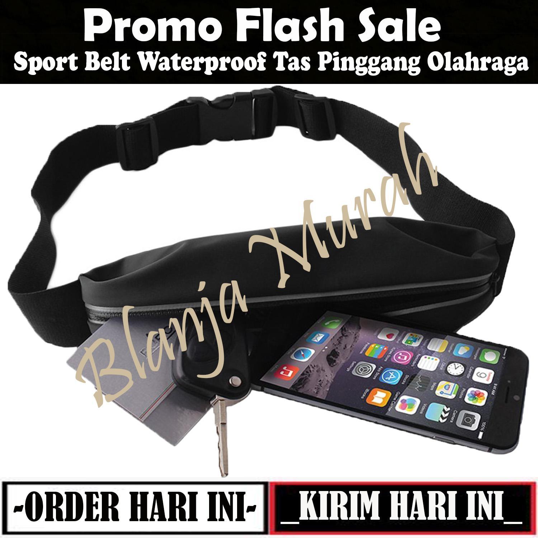 Promo Flash Sale Sport Belt Waterproof Tas Pinggang Olahraga Dompet Smartphone Premium High Quality Running / Bersepeda / Jogging / Jalan Santai - Hitam
