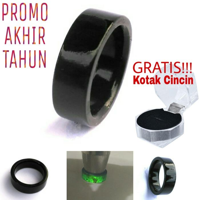 Ring Cincin Natural Giok Black Jade Aceh Flat