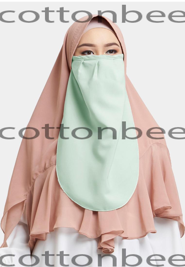 Buy Sell Cheapest Niqob Cadar Murah Best Quality Product Deals Yaman Kancing Cotton Bee Khawla Tali Niqab Hijau Muda Katun Premium Berkualitas