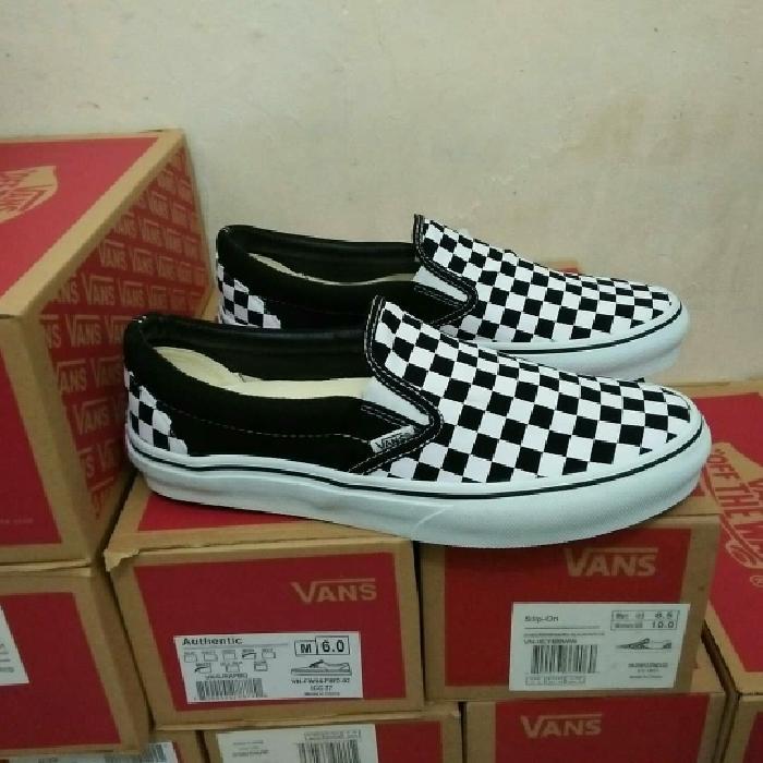 HARGA DISKON!!! Murah Sepatu Vans Slip On Catur Checkerboard Premium High Quality