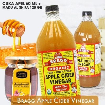 Bragg Apple Cider Vinegar 60 Ml + Madu Al Shifa 125 Gr