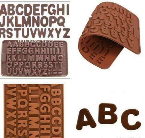Cetakan Coklat Huruf / Cetakan Silikon Huruf / Cetakan Alphabet / Cetakan Foundant Puding / Cetakan
