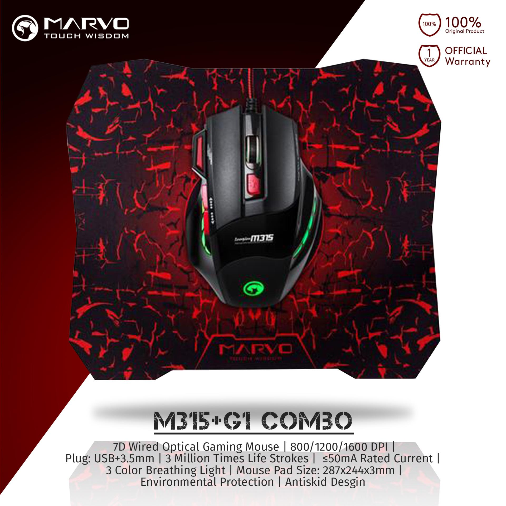 Marvo M315 & Mouse Pad G1 Combo Gaming Mouse - Hitam