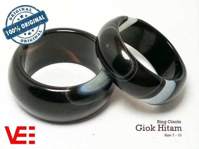 Promo Big Sale Perhiasan Aksesoris VeE Ring Cincin Terapi Kesehatan Batu Giok Hitam Black Jade Asli