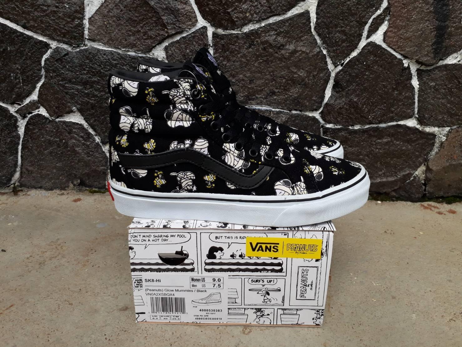 sepatu sneakers vns sk8 hi peanuts glow wafle icc