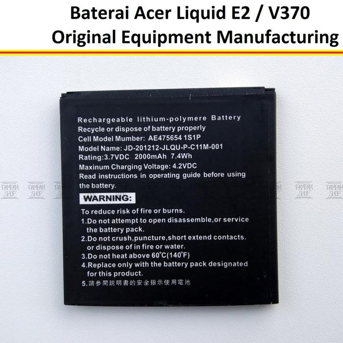 Baterai HP Acer Liquid E2 V370 Original OEM Batre Batrai Battery