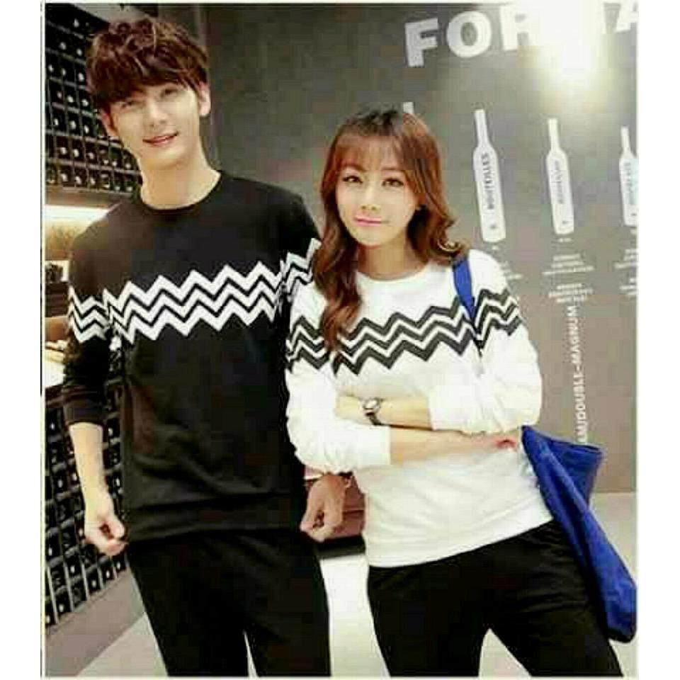 legiONshop-sweater pasangan sweater couple baju pasangan baju couple couple terbaru ZIG ZAG black white
